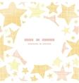 Golden stars textile textured frame circle pattern vector image