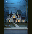 house building night view suburb of big city vector image