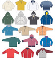 sweatshirt hoodie and fleece templates collection vector image