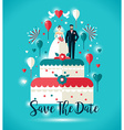 Wedding invitation card Two on wedding cake with vector image