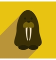 Flat web icon with long shadow walrus vector image