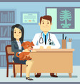 veterinary office - woman with dog and vector image