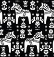 Swedish folk art Dala horse pattern vector image