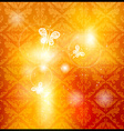 Glowing Orange Floral Patterned Wallpaper with vector image