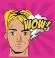 young man pop art cartoon vector image