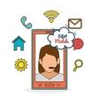 taxi mobile girl call center icon network vector image