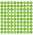 100 success icons hexagon green vector image