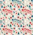 Seamless Christmas pattern with Santa Claus vector image