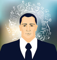 Businessman with business doodles vector image