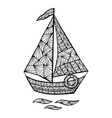 Stylized sailboat zentangle vector image