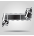 Curled film strip in black and white colors vector image