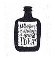 Whiskey bottle and handwritten lettering vector image