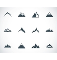 black mountains icons set vector image