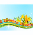 easter egg and flower banner for holiday design vector image