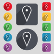 map poiner icon sign A set of 12 colored buttons vector image
