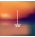 rake icon on blurred background vector image