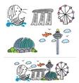 singapore city skyline cartoon vector image