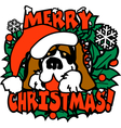 Merry christmas santa dog vector image vector image