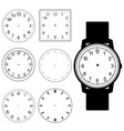 set of blank hand watch face and blank wall clock vector image