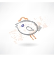 Brush icon with a little flying hen vector image vector image