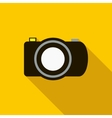 Black camera icon in flat style vector image