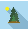 Fir trees icon in flat style vector image