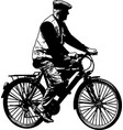 elderly man riding bicycle sketch vector image
