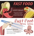 Fast food banner flat Mexican and japan fast food vector image