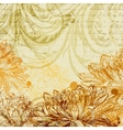 Hand drawn background with chrysanthemum flowers vector image