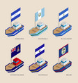 isometric ships with flags vector image