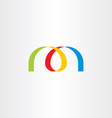 logo letter m colorful ribbon vector image