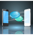 Mobile phones with glossy speech bubbles vector image