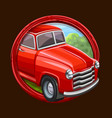 red truck icon in frame vector image