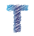 sketched letter T vector image