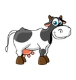 Smiling cartoon spotted cow character vector image