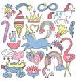 unicorn fairy elements doodle set vector image