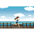 A young woman jogging vector image