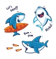 Set of blue shark cartoon character isolated on vector image