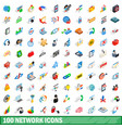 100 network icons set isometric 3d style vector image