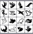 bird icons set vector image vector image