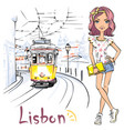 Girl and yellow 28 tram alfama lisbon portugal vector image