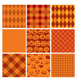 Set of Halloween plaid seamless patterns in orange vector image