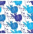 Blue Oriental Kimono Peony Seamless Pattern vector image