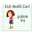 Health card with girl having poison ivy vector image