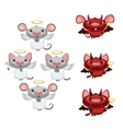 Cartoon little angel and devil on white background vector image