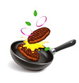 frying steaks on pan isolated vector image