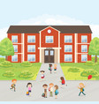 group of elementary school kids in the school yard vector image