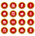 house icon red circle set vector image