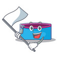with flag pencil case character cartoon vector image