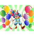 A clown between a group of balloons vector image